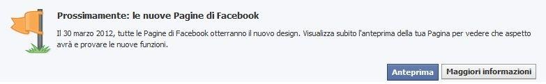 La pagina Facebook cambia layout grafico dal 30 marzo 2012