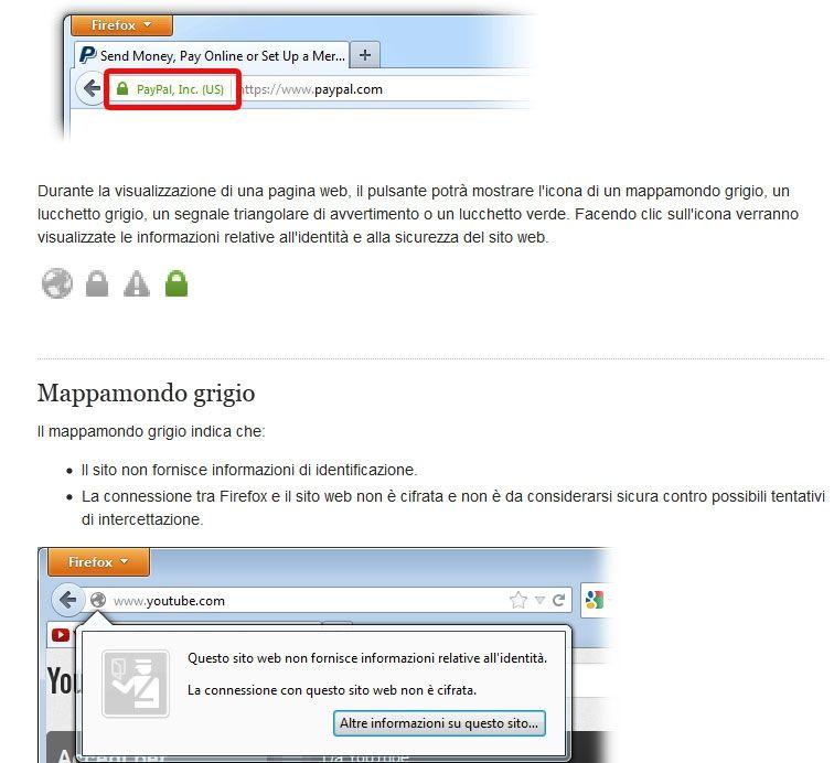 Il certificato di sicurezza che introduce Firefox