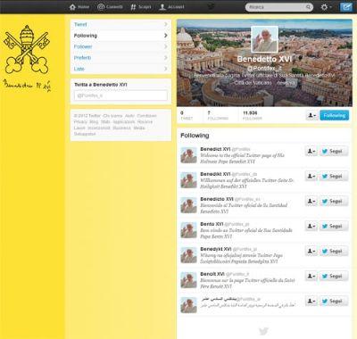 Papa Benedetto XVI da oggi è su Twitter