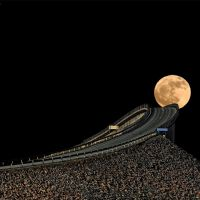 The Moon on the atlantic road