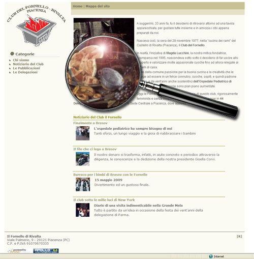 Screenshot della home page