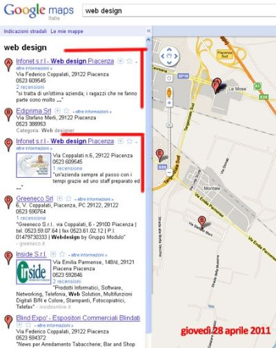 Sorpresa! Infonet ha due schede nel motore google maps